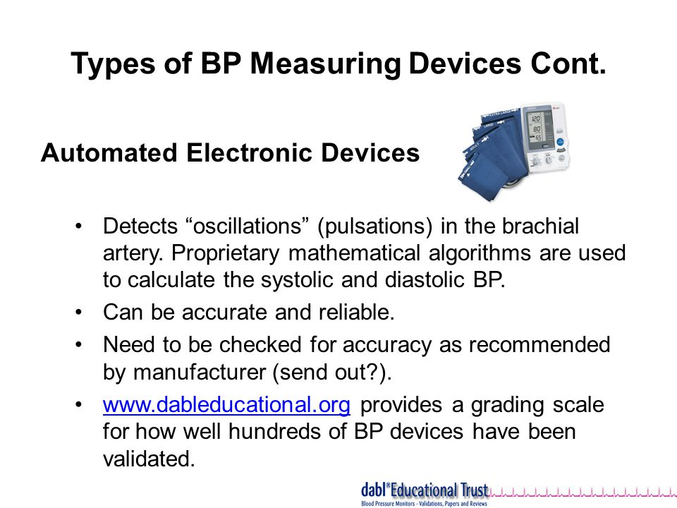 Types of BP Measuring Devices Cont.