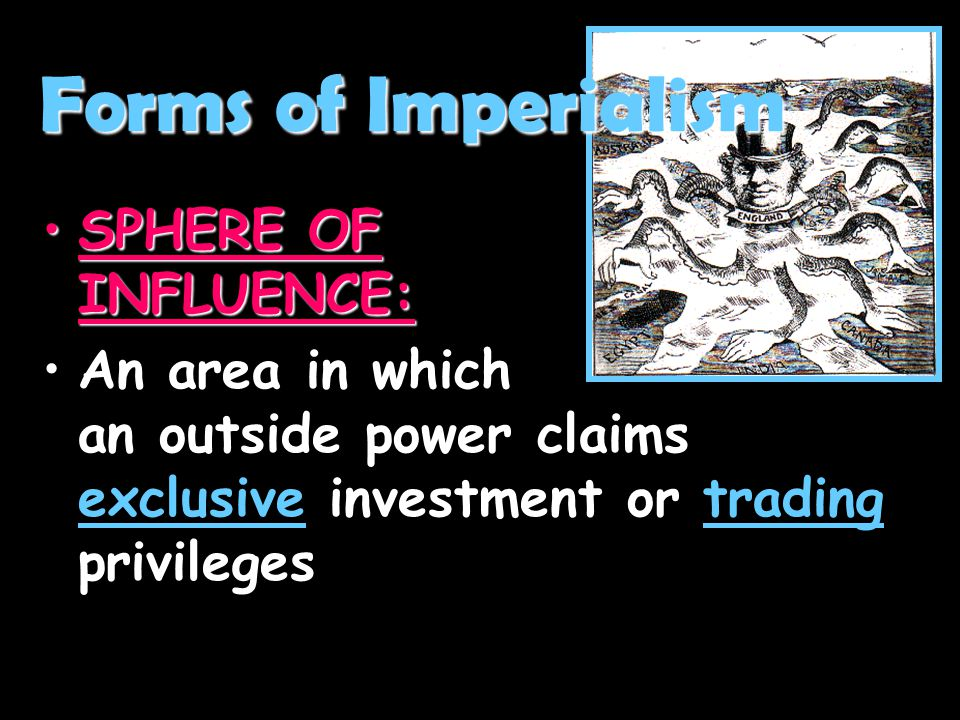Forms of Imperialism SPHERE OF INFLUENCE:
