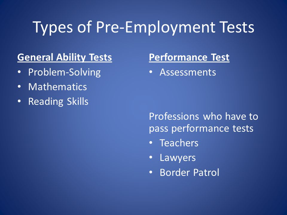 Types of Pre-Employment Tests