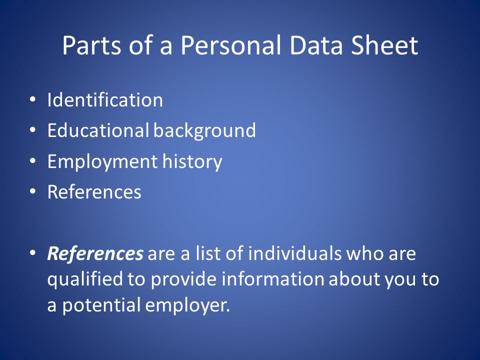 Parts of a Personal Data Sheet
