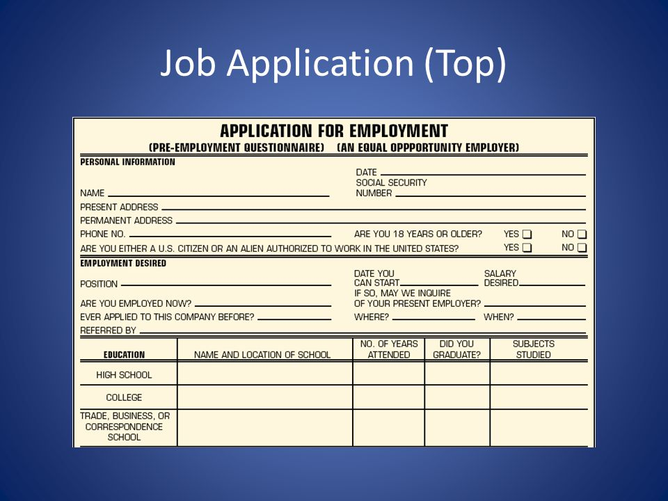 Job Application (Top)