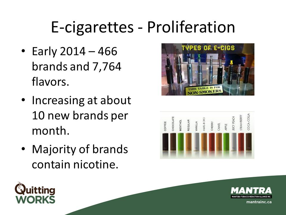 E-cigarettes - Proliferation