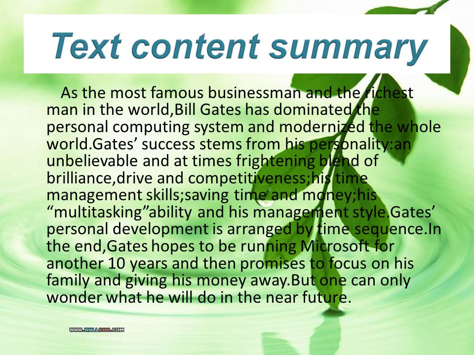 Text content summary