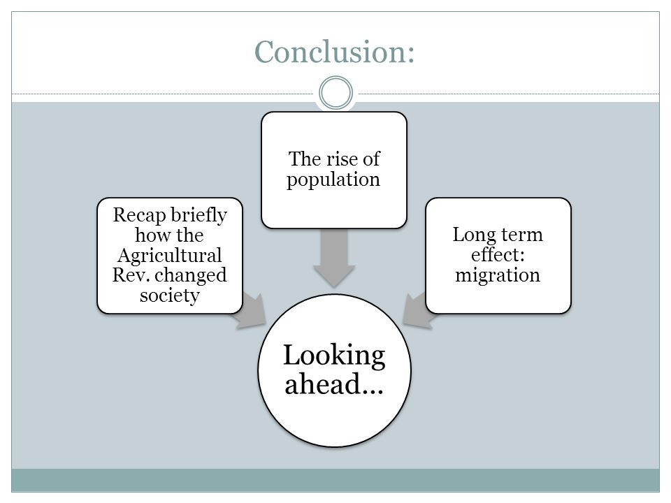 Conclusion: Looking ahead... The rise of population