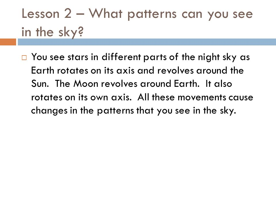 Lesson 2 – What patterns can you see in the sky