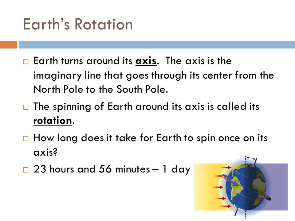 Earth's Rotation Earth turns around its axis. The axis is the imaginary line that goes through its center from the North Pole to the South Pole.