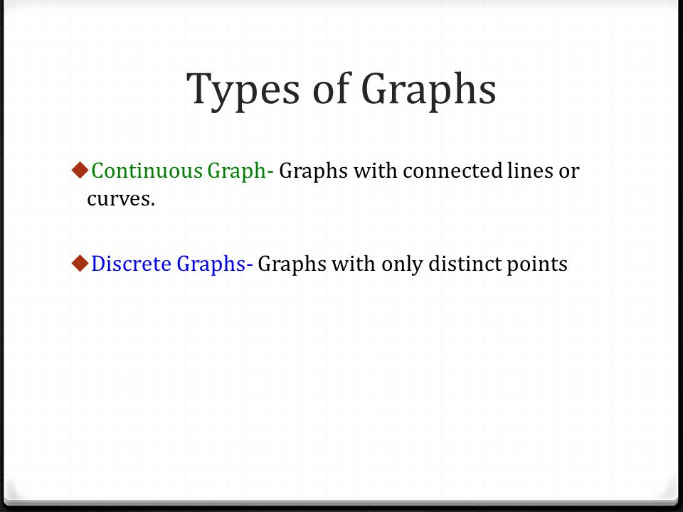 Types of Graphs Continuous Graph- Graphs with connected lines or curves.