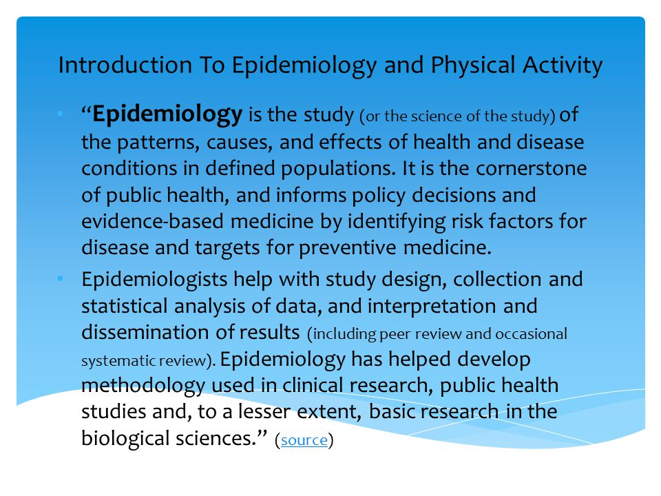 Introduction To Epidemiology and Physical Activity