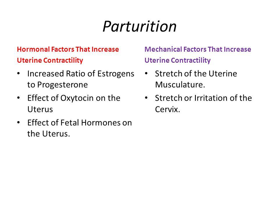 Parturition Increased Ratio of Estrogens to Progesterone