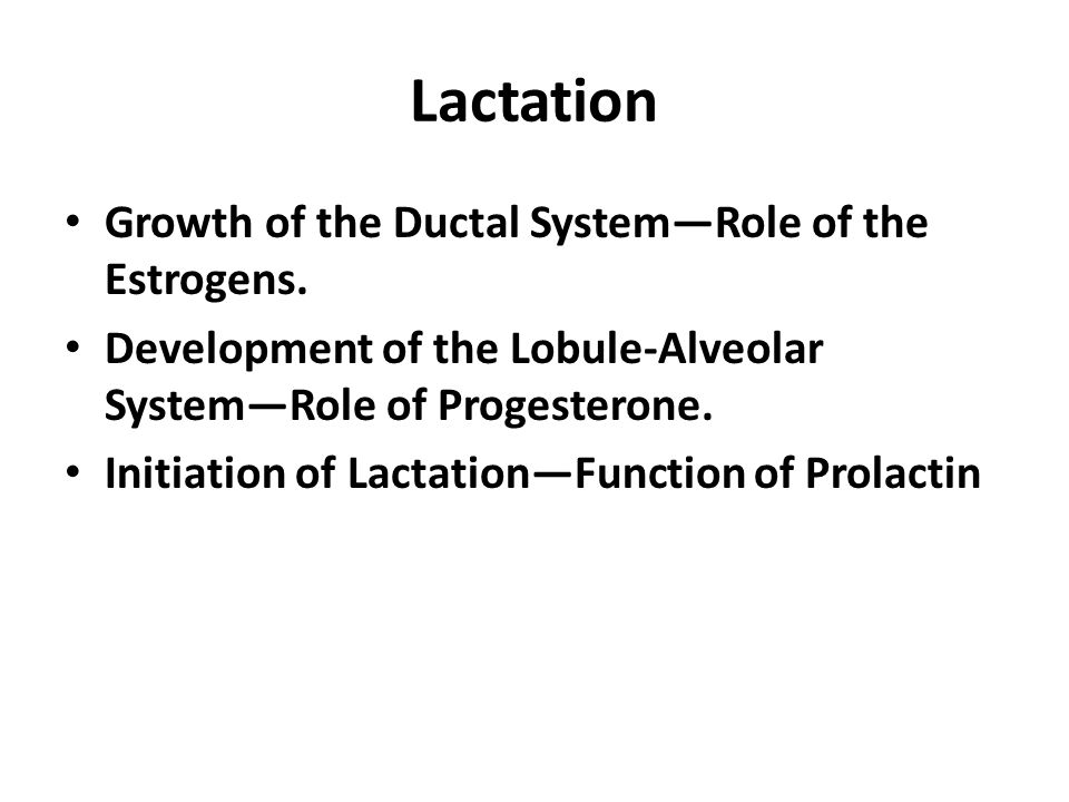 Lactation Growth of the Ductal System—Role of the Estrogens.