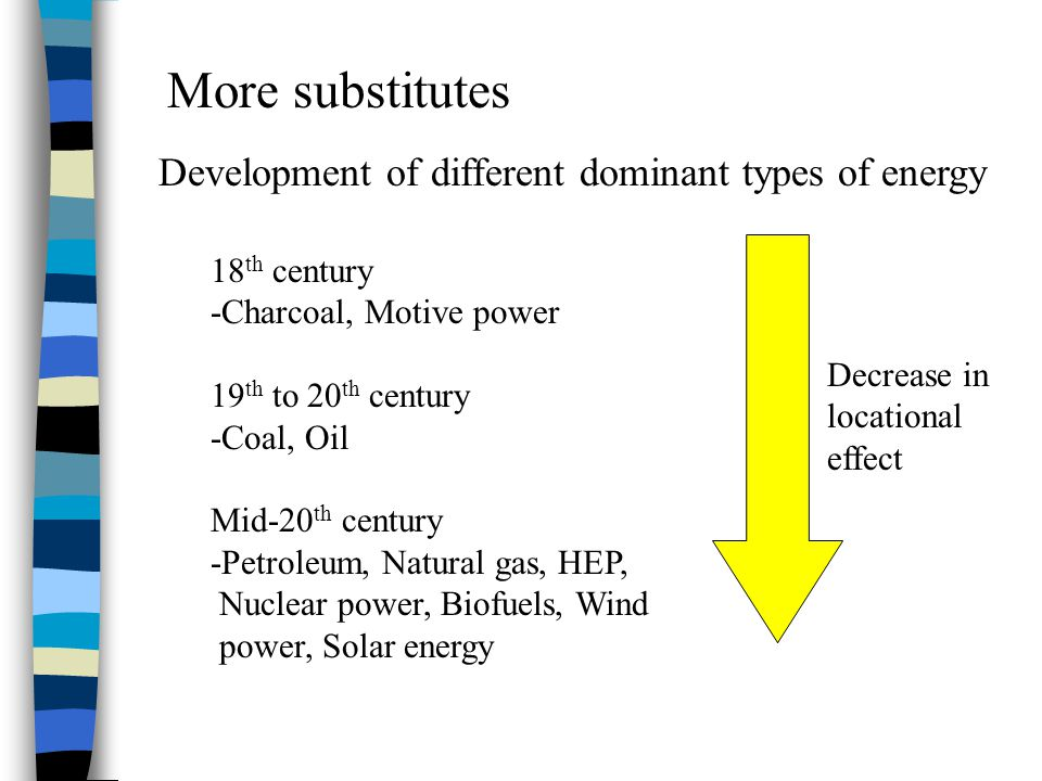 More substitutes Development of different dominant types of energy