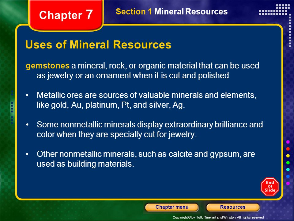 Uses of Mineral Resources