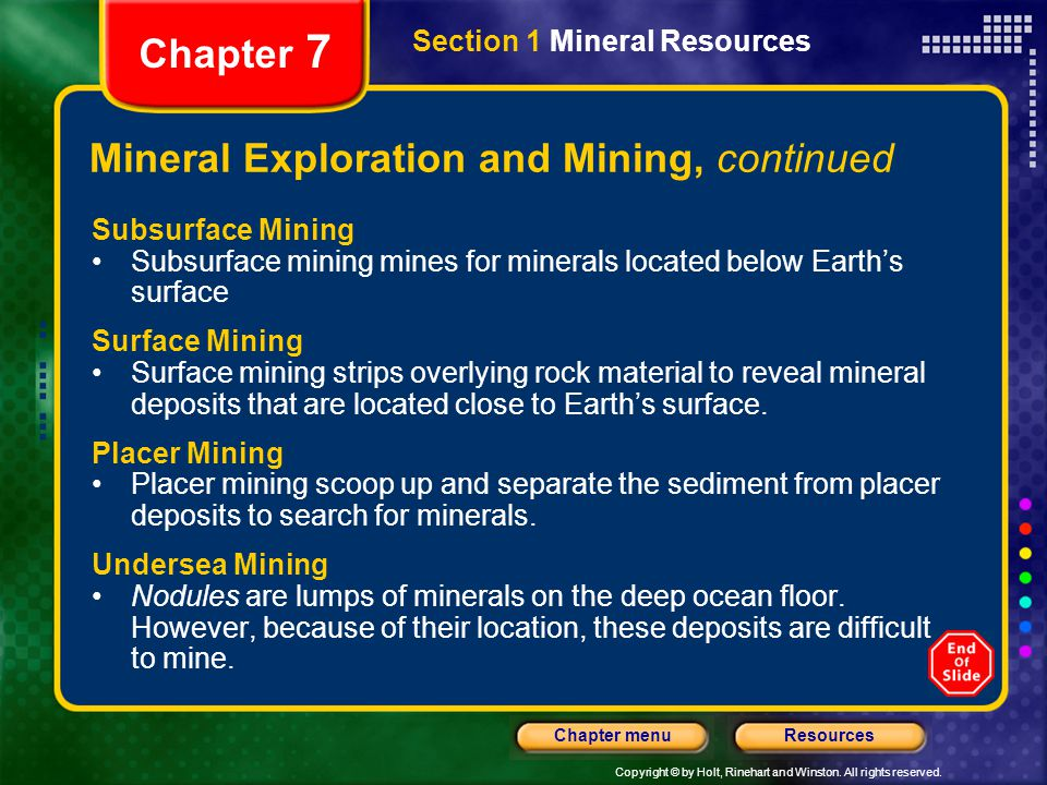 Mineral Exploration and Mining, continued