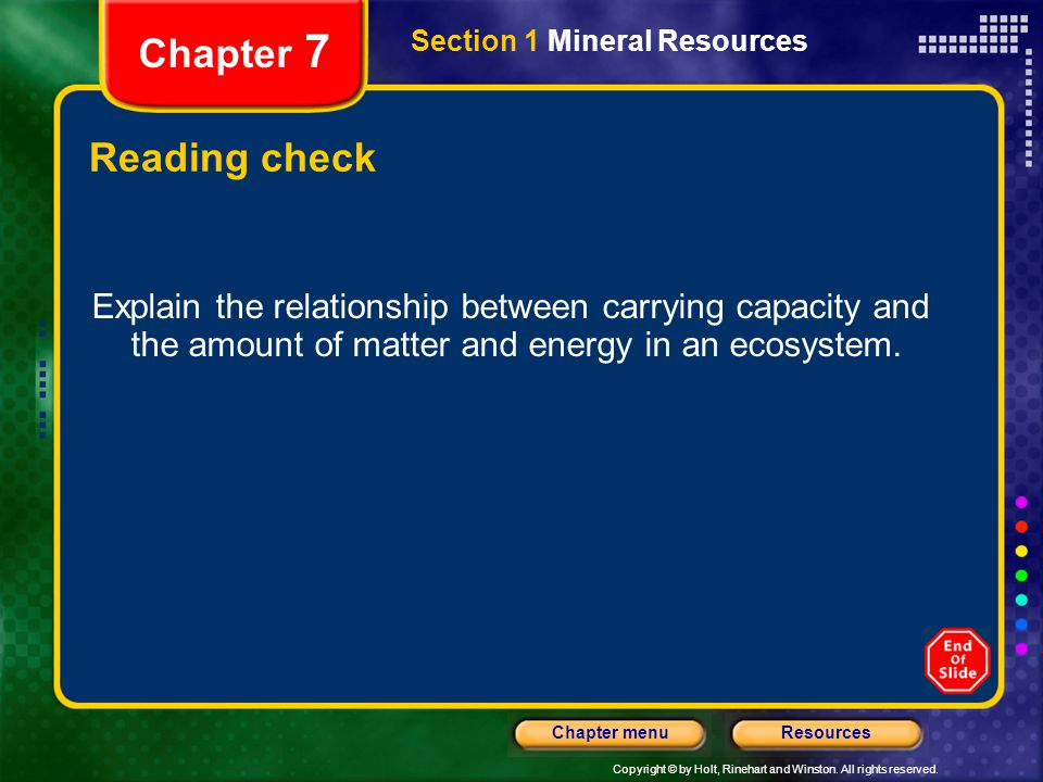 Chapter 7 Section 1 Mineral Resources. Reading check.