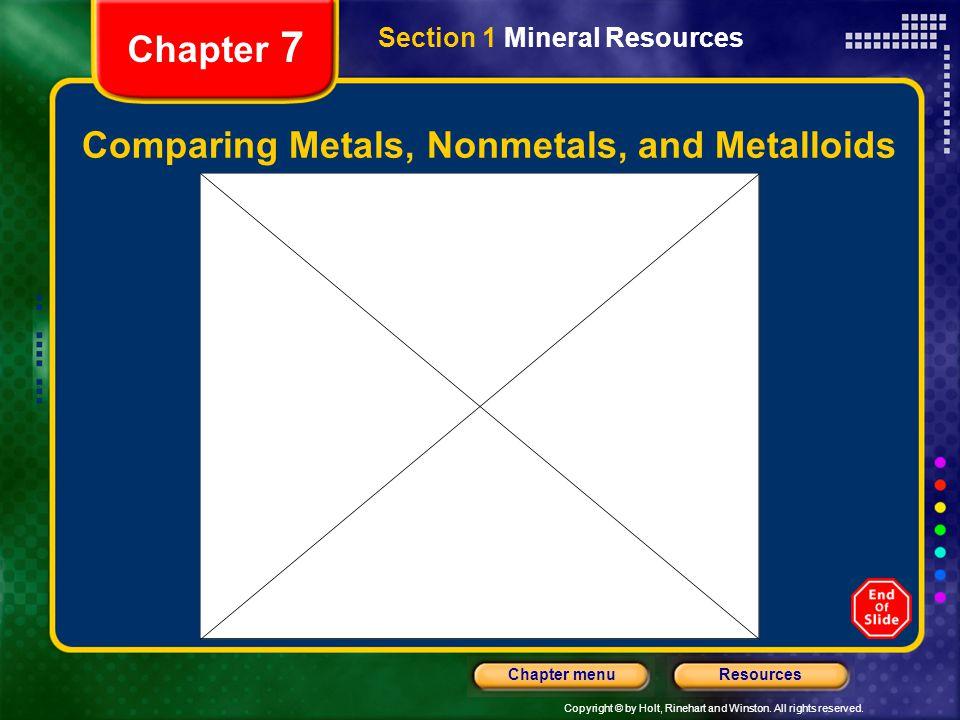 Comparing Metals, Nonmetals, and Metalloids