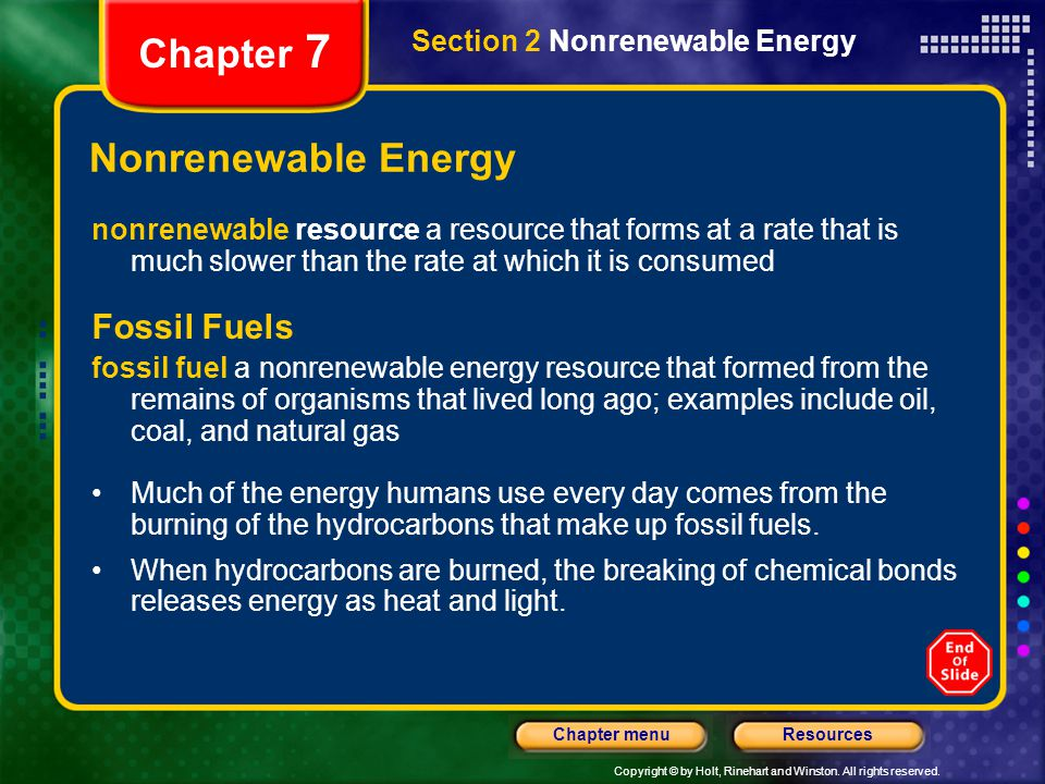 Chapter 7 Nonrenewable Energy Fossil Fuels