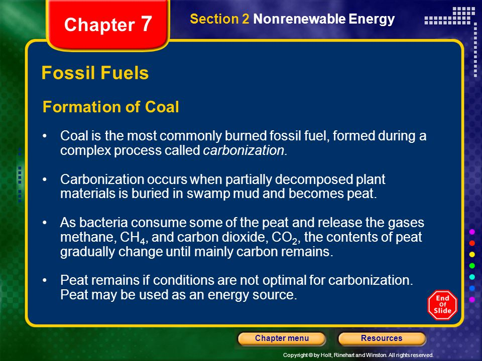 Chapter 7 Fossil Fuels Formation of Coal Section 2 Nonrenewable Energy