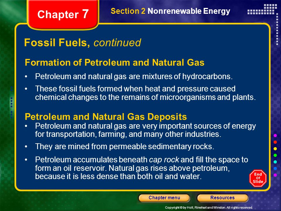 Fossil Fuels, continued
