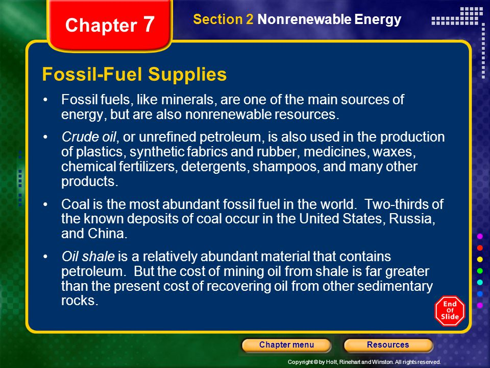 Chapter 7 Fossil-Fuel Supplies Section 2 Nonrenewable Energy