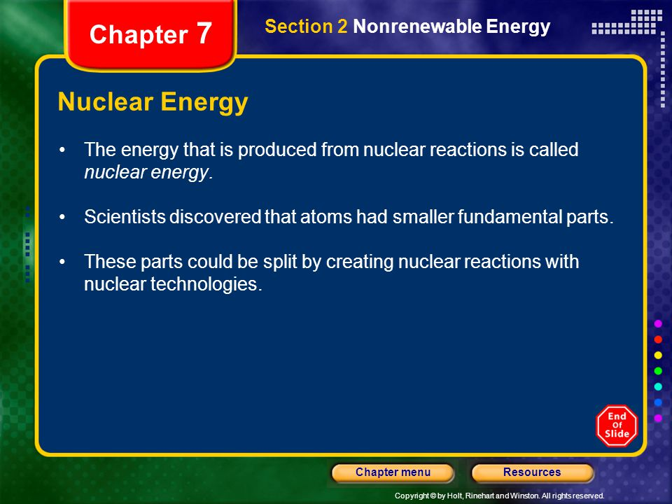 Chapter 7 Nuclear Energy Section 2 Nonrenewable Energy