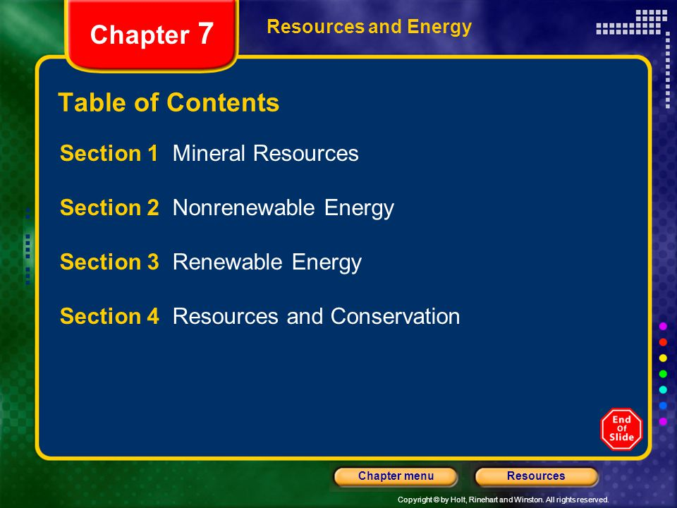 Chapter 7 Table of Contents Section 1 Mineral Resources