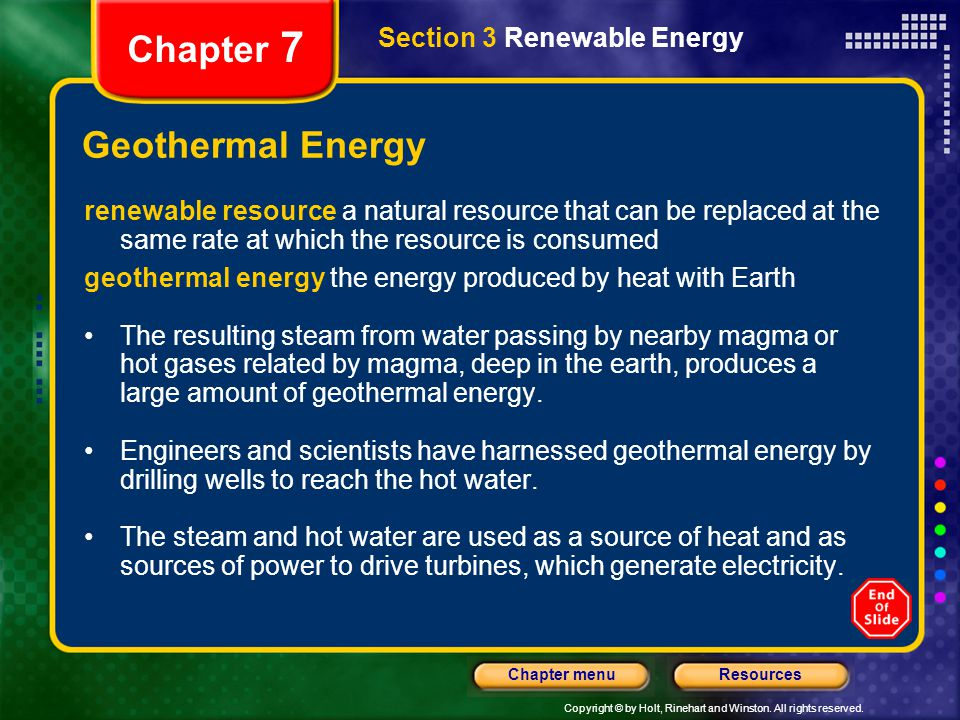 Chapter 7 Geothermal Energy Section 3 Renewable Energy