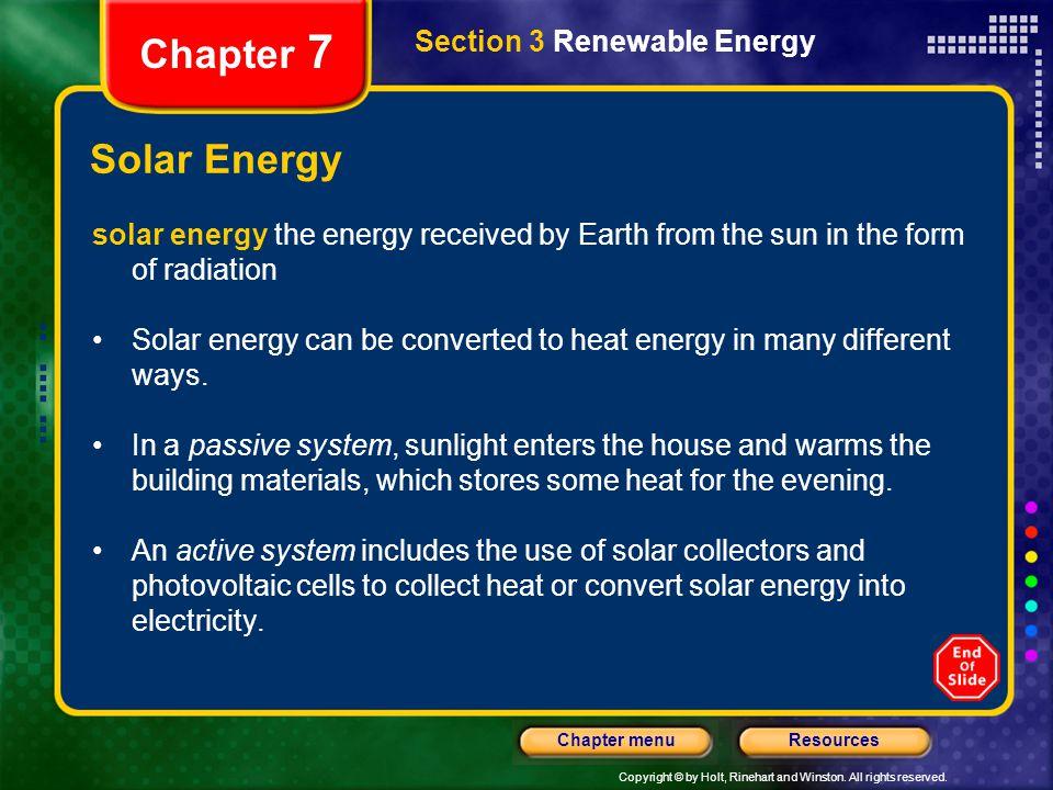 Chapter 7 Solar Energy Section 3 Renewable Energy
