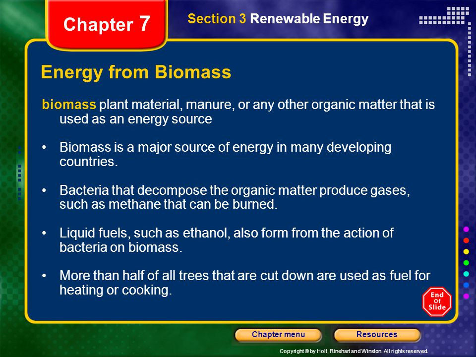 Chapter 7 Energy from Biomass Section 3 Renewable Energy