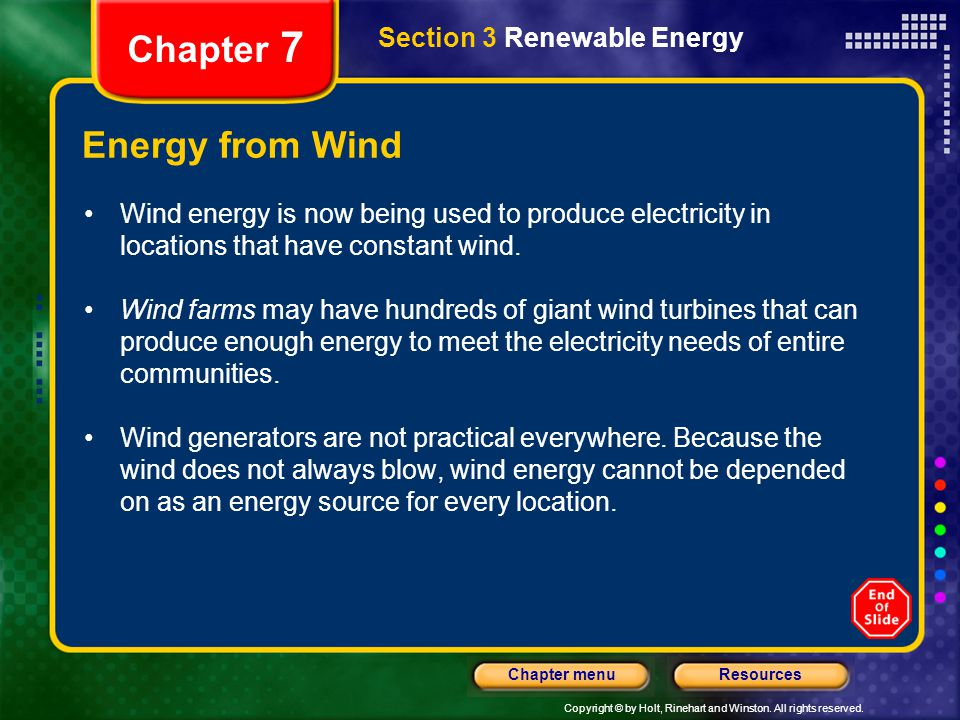 Chapter 7 Energy from Wind Section 3 Renewable Energy