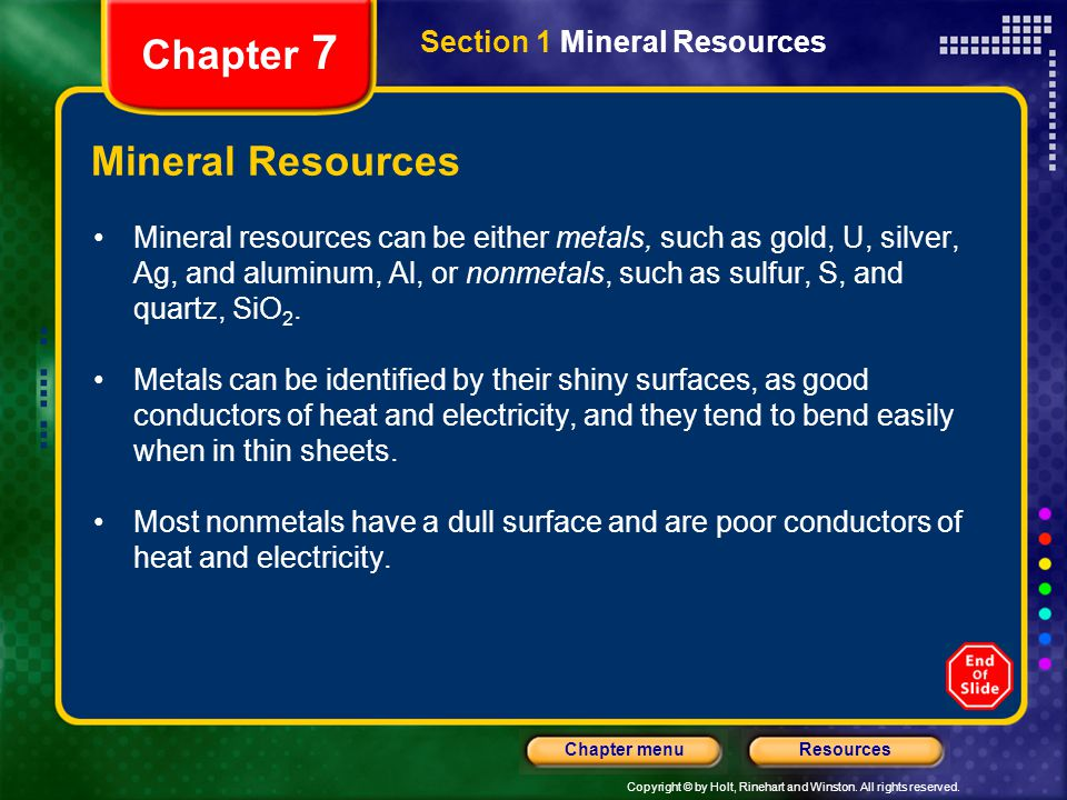 Chapter 7 Mineral Resources Section 1 Mineral Resources