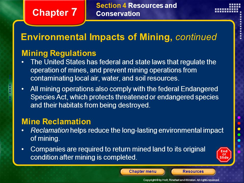 Environmental Impacts of Mining, continued