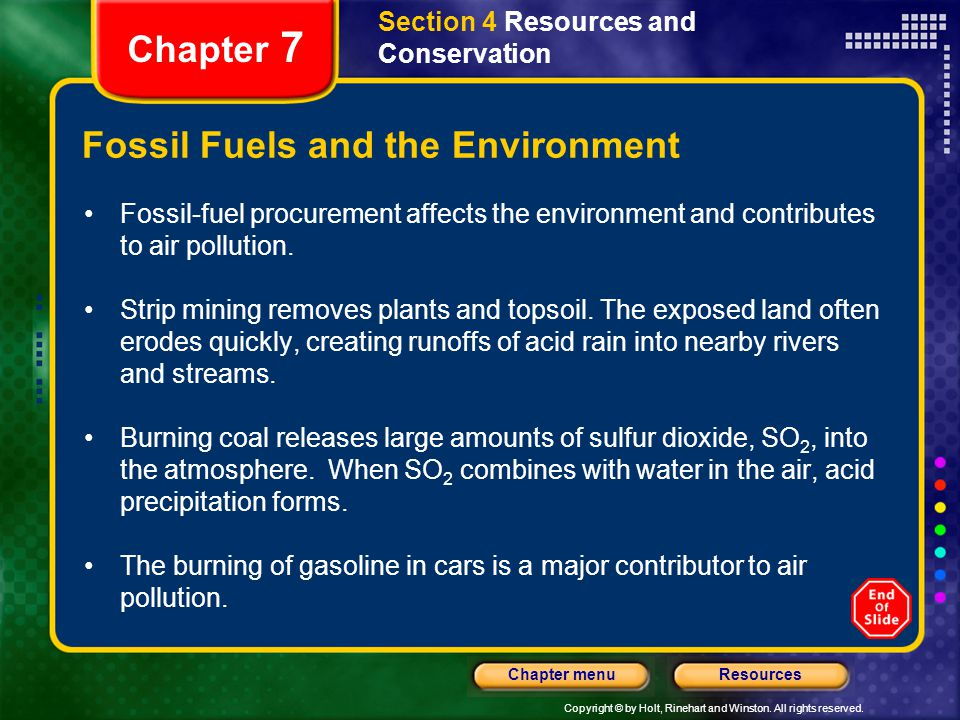 Fossil Fuels and the Environment