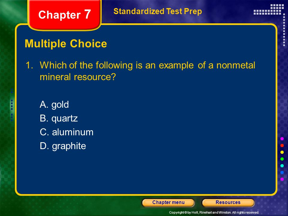 Chapter 7 Multiple Choice