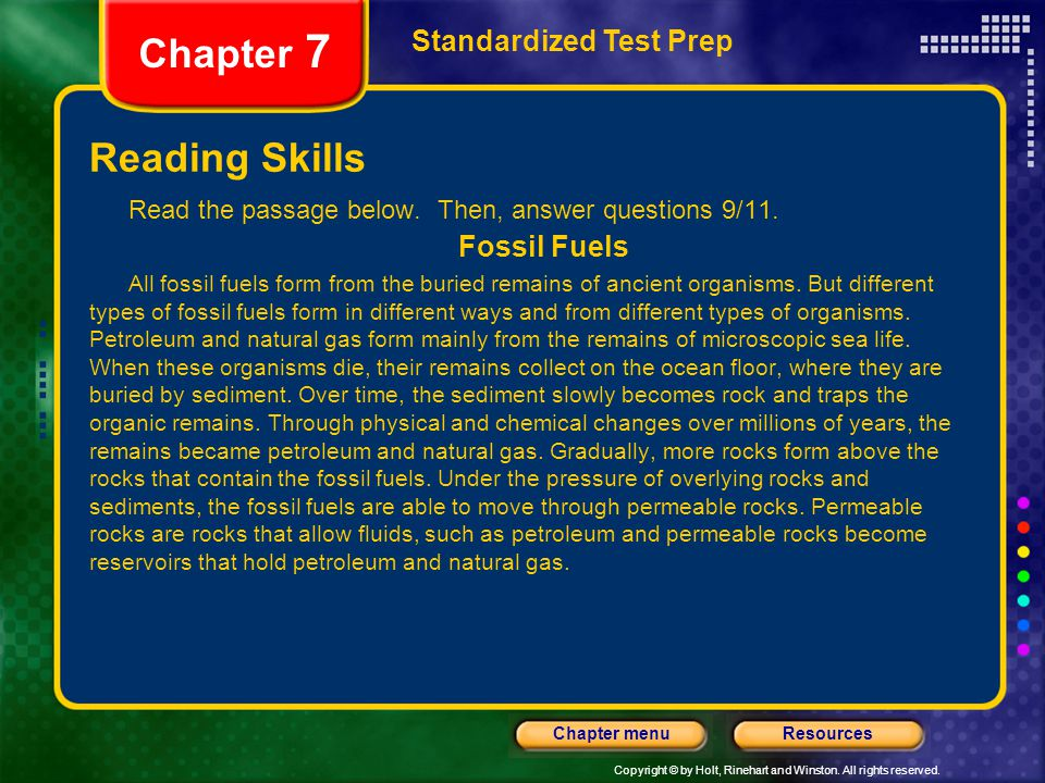 Chapter 7 Reading Skills Standardized Test Prep Fossil Fuels