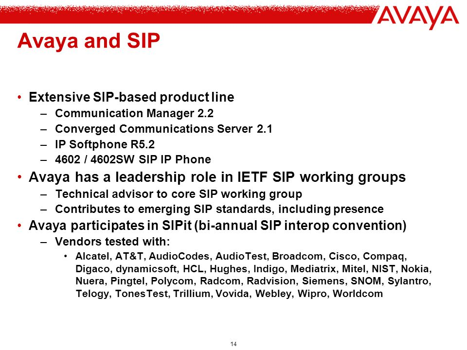 Avaya and SIP Avaya has a leadership role in IETF SIP working groups