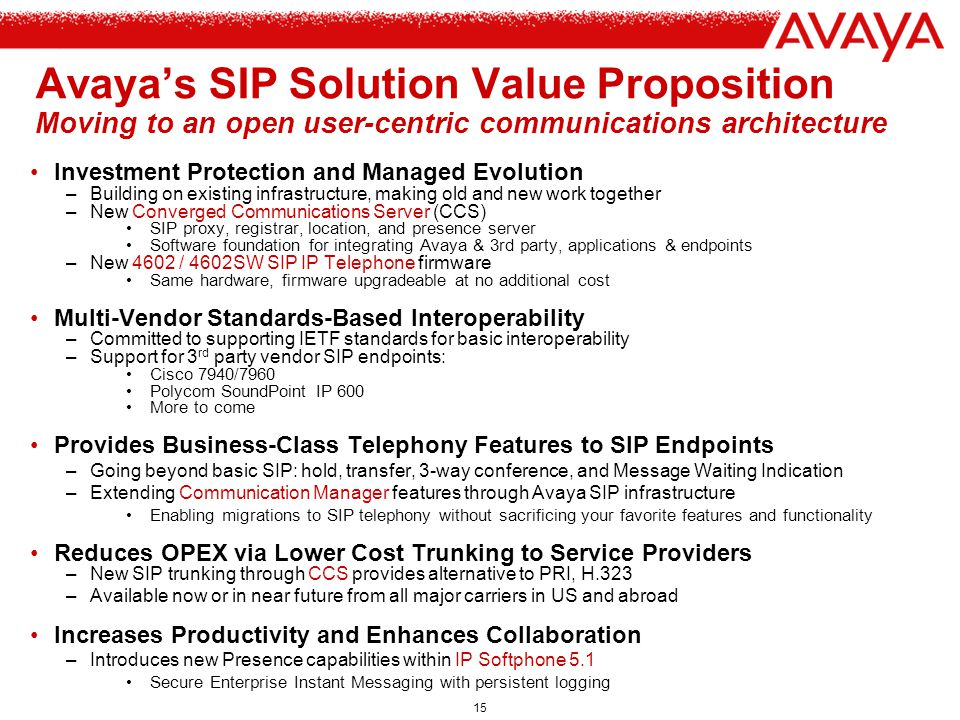 Avaya's SIP Solution Value Proposition Moving to an open user-centric communications architecture