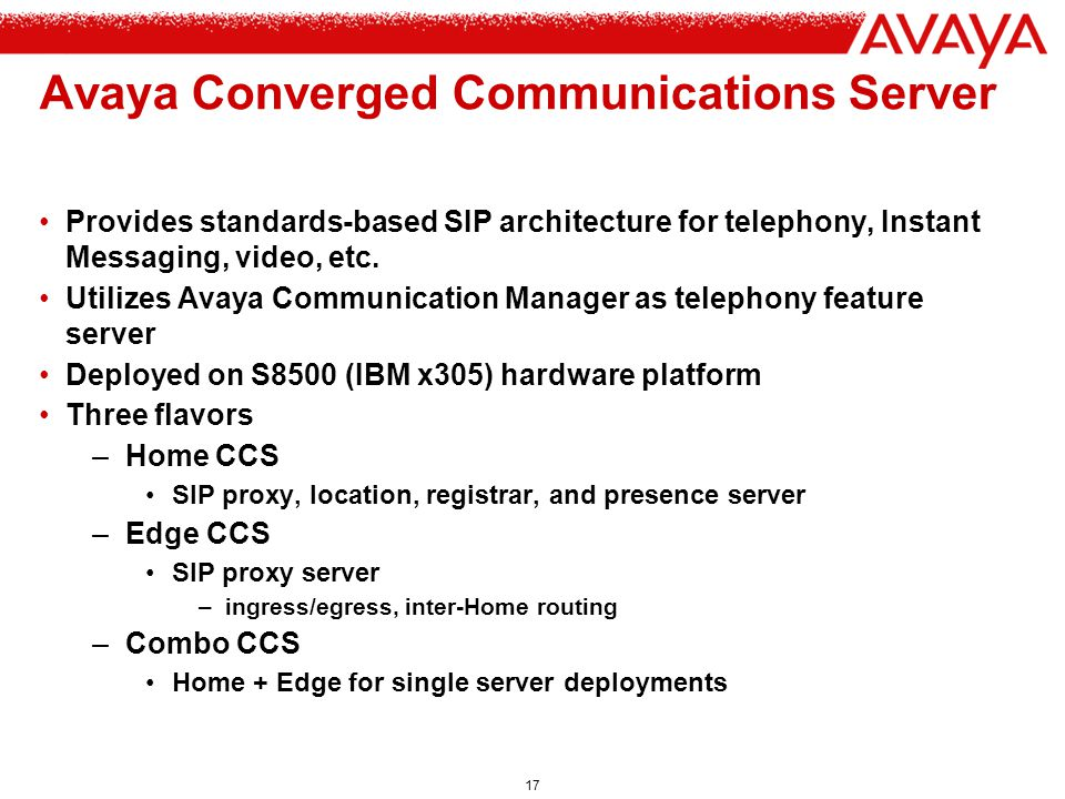Avaya Converged Communications Server