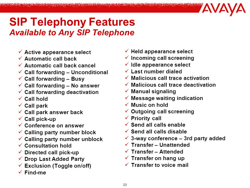 SIP Telephony Features Available to Any SIP Telephone