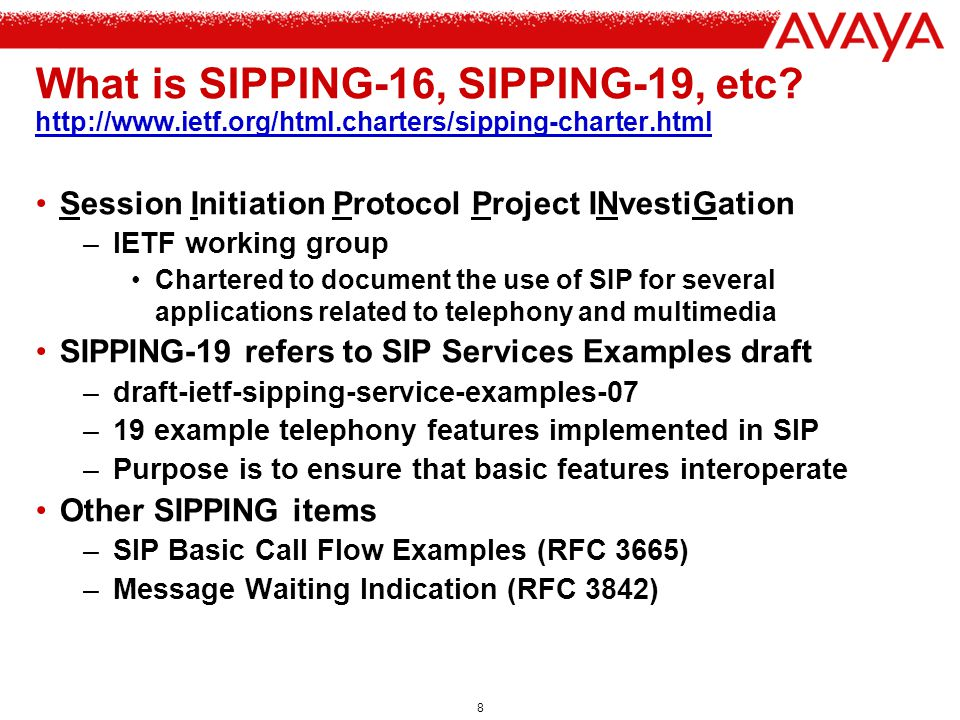 What is SIPPING-16, SIPPING-19, etc. http://www. ietf. org/html