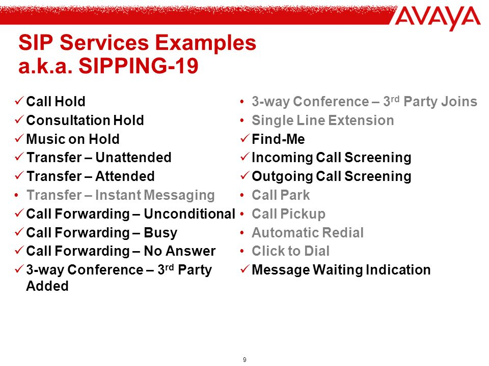 SIP Services Examples a.k.a. SIPPING-19