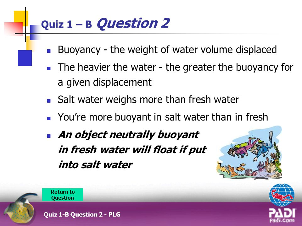 Buoyancy - the weight of water volume displaced