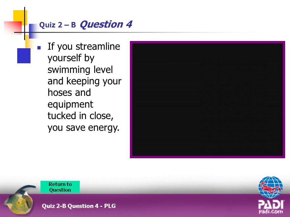 Quiz 2 – B Question 4 If you streamline yourself by swimming level and keeping your hoses and equipment tucked in close, you save energy.