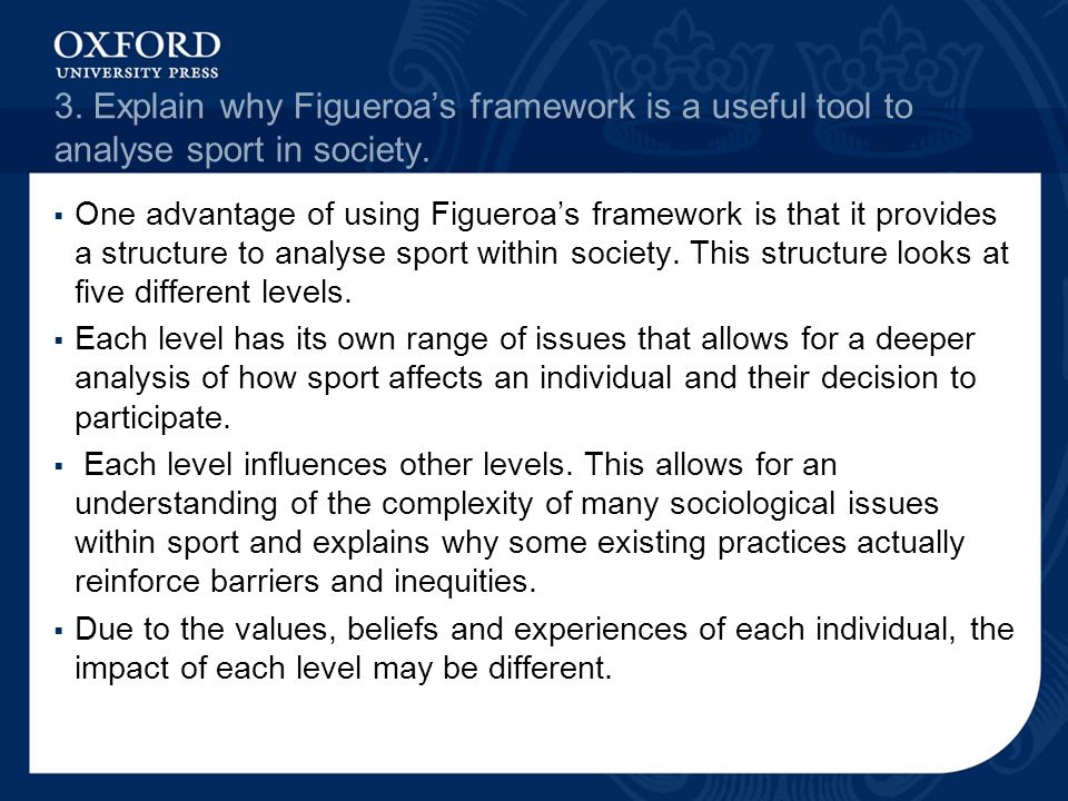 3. Explain why Figueroa's framework is a useful tool to analyse sport in society.