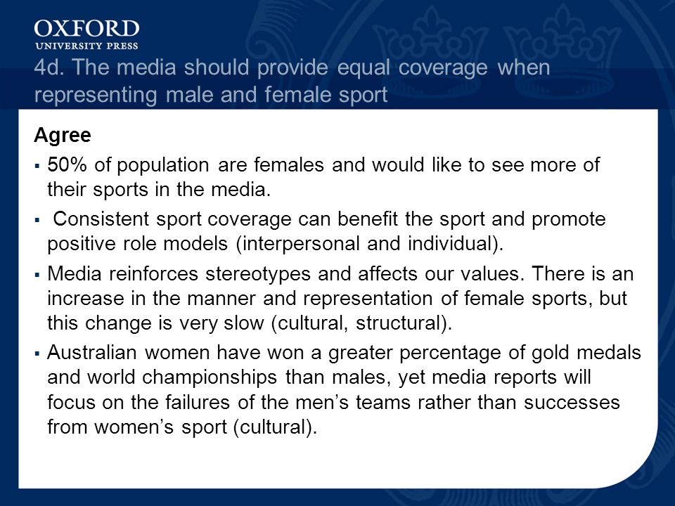 4d. The media should provide equal coverage when representing male and female sport