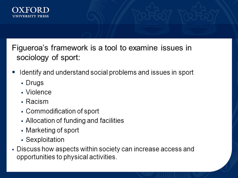 Identify and understand social problems and issues in sport