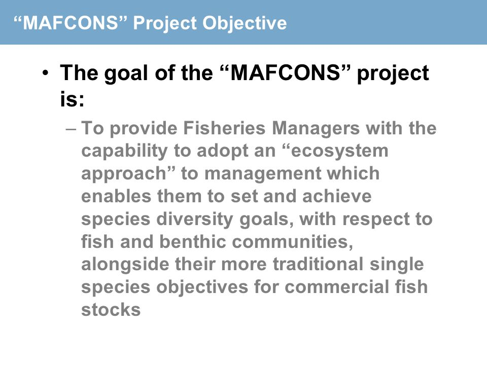 MAFCONS Project Objective