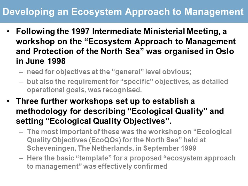 Developing an Ecosystem Approach to Management