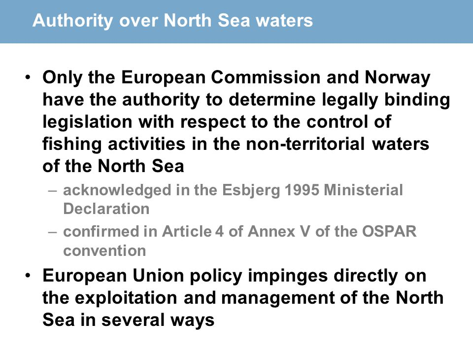 Authority over North Sea waters