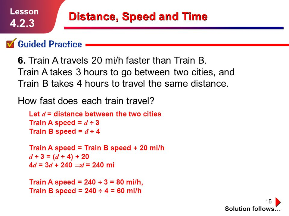 Distance, Speed and Time