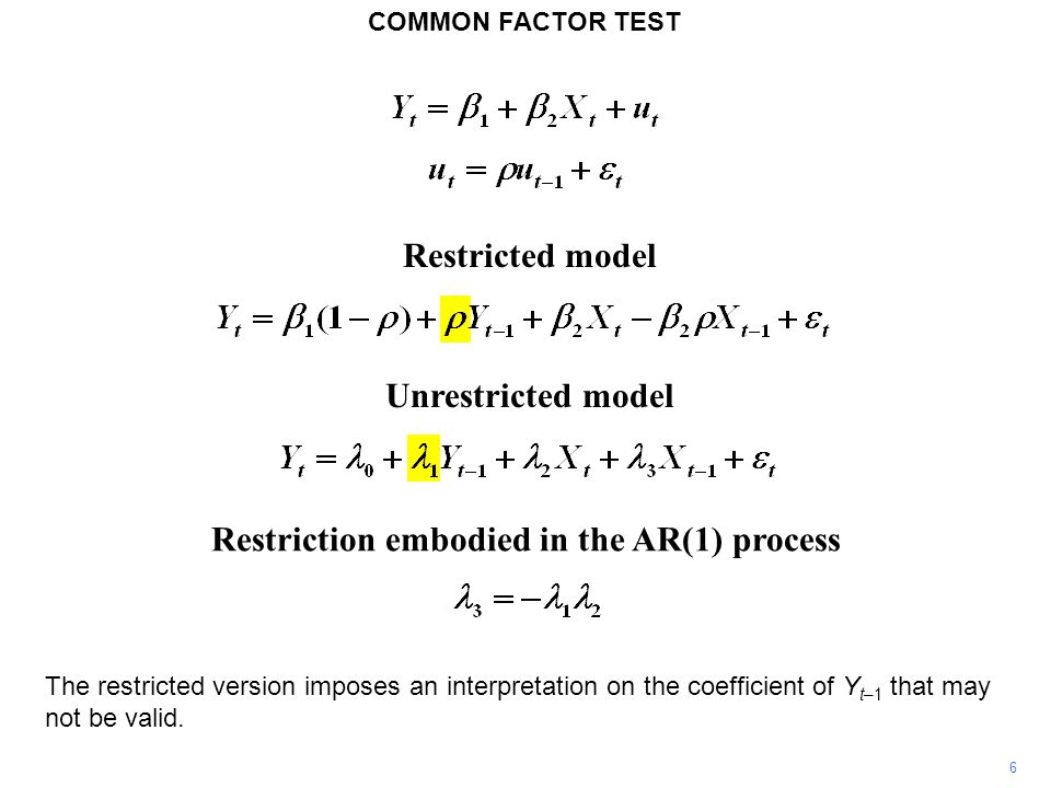 Restriction embodied in the AR(1) process